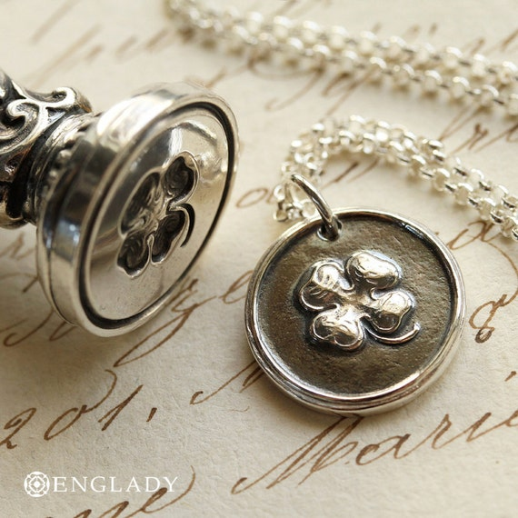 Four Leaf Clover Victorian Wax Seal Necklace - Fine Silver, Sterling Silver
