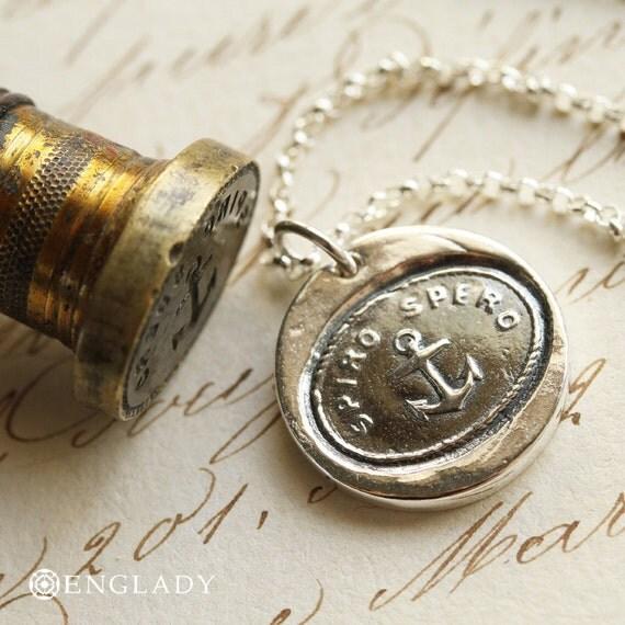 Spiro Spero, Anchor Wax Seal Necklace - Fine Silver, Sterling Silver