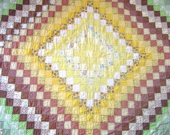 Antique Hand Sewn Patchwork Quilt Repair Brown Green Yellow Country Bedding