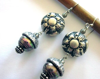 Metal and Glass Dangle Earrings Bohemian Style Assemblage Earrings Acorn Jewelry