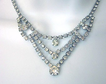 Vintage Rhinestone Necklace Bridal Jewelry