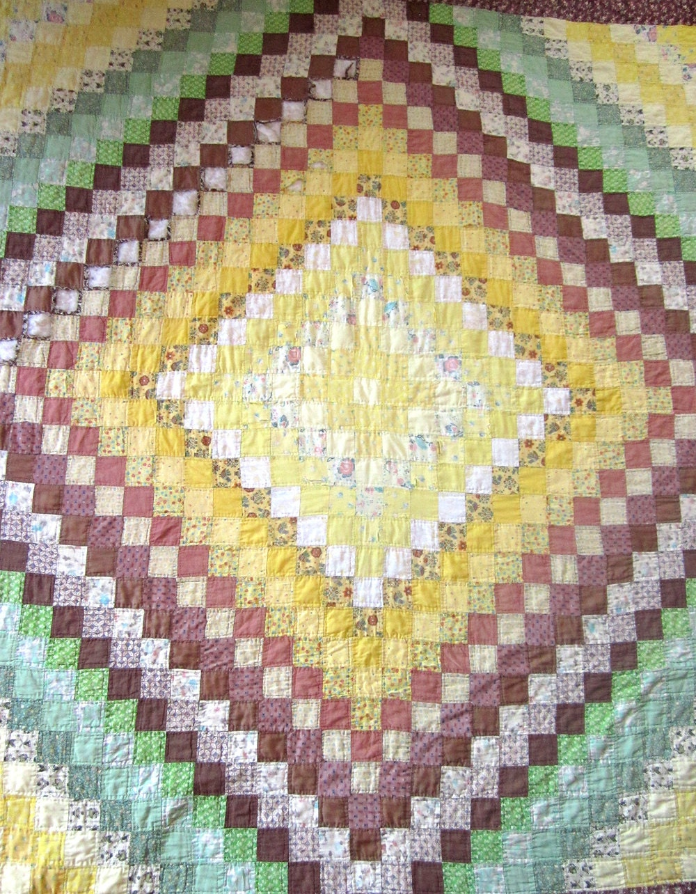Antique Hand Sewn Patchwork Quilt Repair Brown Green Yellow