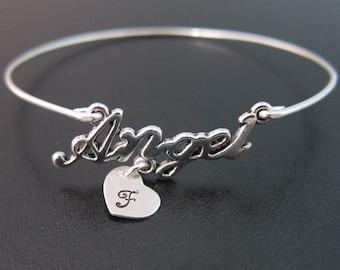 Personalized Angel Bracelet, Angel Bangle, Custom Angel Jewelry, Initial Charm Bracelet, Initial Charm Bangle