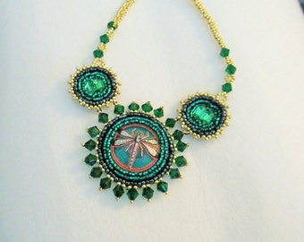 CLERANCE PRICED - Cleopatra Handbeaded Czech Glass Button Dragonfly Necklace in Emerald Green and Gold