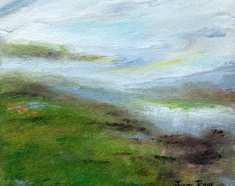 Silver Linings Await - abstract landscape oil painting, clouds, mist, nature, art, original painting, 6x6