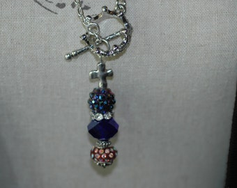 Cross Lariat Charm Necklace , Cross Necklace , Princess Crown Necklace , Cross Toggle Necklace