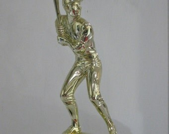Vintage Sports Trophy, Large Gold Baseball Player Statue Mounted on Wood Base Two Available