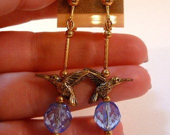 Hummingbird Earrings, beaded dangle earrings, blue, fire polish glass, gold tone, leverbacks, clip on earrings, handmade