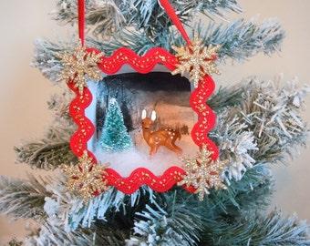 Reindeer, Deer, Fawn, Doe, Ornament, Shadow Box, Shadowbox, Diorama, Christmas, Retro, Paper Ornament, Vintage