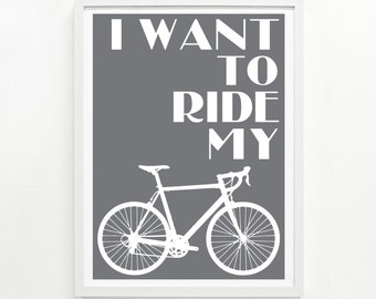 Ride My Bike Print, 12 x 16 Hand Printed - Pick Your Color