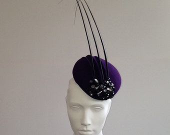 Gorgan - Purple ridged beret with crystals and quills Great for the races, Ascot or a wedding