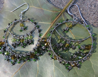 lovely handmade beaded earrings   green and gold glass beads   sterling wires
