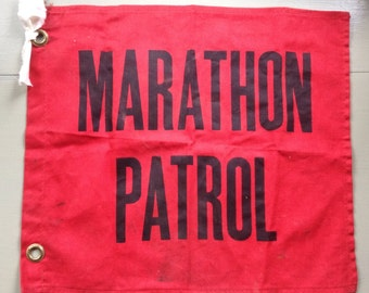 Vintage marathon patrol flag red cotton