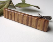 Wood Tie Bar Tie Clip - Handmade Zebrawood Wooden Tie Bar Clip for the Groom or 5-Year Anniversary