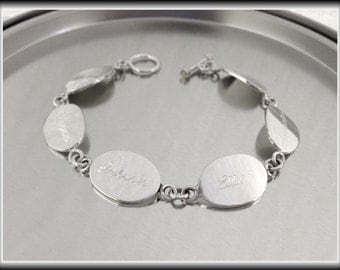Personalized Sterling Silver Oval Family Bracelet, Mothers Bracelet, Grandma Bracelet, Family Jewelry, Inspirational Jewelry, Monogrammed