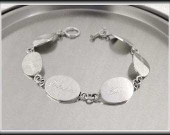 Personalized Sterling Silver Oval Family Bracelet, Mothers Bracelet, Grandma Bracelet, Monogrammed Silver Name Bracelet, Engraved Bracelet