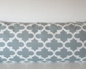 Grey decorative body pillow cover - 20x54 - lattice grey accent pillow cover