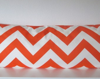 Orange chevron pillow cover - zig zag orange accent pillow cover
