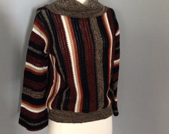 Vintage 1970s 70s Striped Sweater - cowl neck - Loose weave - fall winter fashion