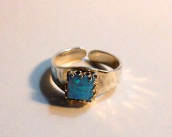 opal silver textured adjustable ring