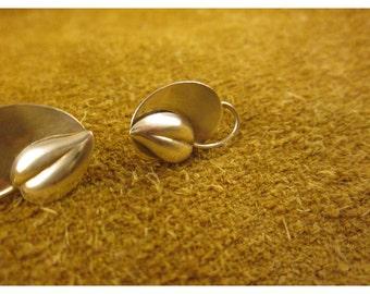 Sterling Silver Heart Flower Screw Back Earrings – Vintage Non Pierced Earrings