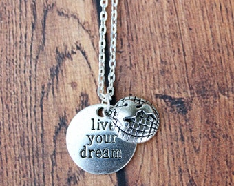 Live your dream, Silver Beaded Travel Necklace.