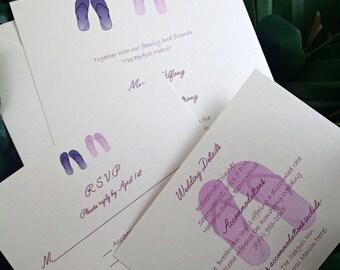 Destination wedding invitation, Beach wedding invitation, Purple wedding invitation, summer invitation, flip flop invitation, flower