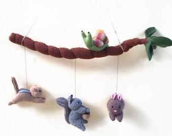baby mobile, woodland mobile, nursery decor, animal mobile, woodland nursery, crib mobile