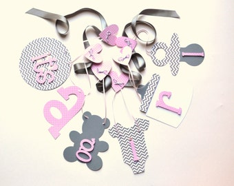Pink and grey chevron baby shower decorations it's a girl banner by ParkersPrints on Etsy