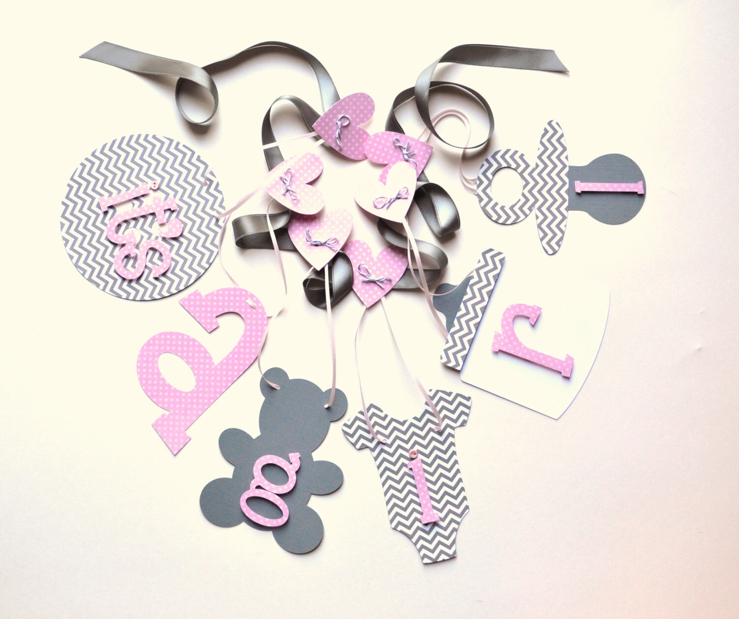 pink and grey chevron baby shower decorations it 39 s a girl