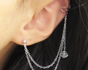 Sterling Silver Crystal Dangle Long Double Chain Cuff Earring