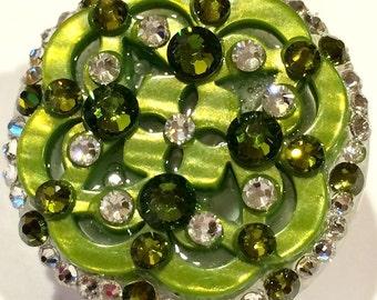 Grass Green Swarovski Crystal & Button Embellished Retractable Swivel-Back ID Badge Reel