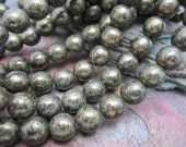 Pyrite Druk Czech Glass Round Beads 8mm