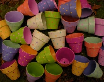 Small Flower Pots - Polka Dots - Set of 100 - Hand Painted
