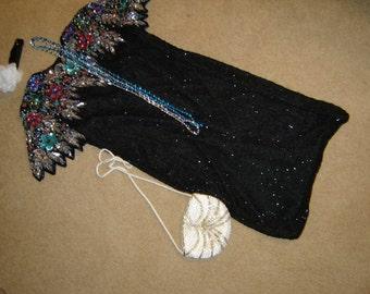 20's  flapper black beaded dress Halloween GATSBY COSTUME womens M beaded bag