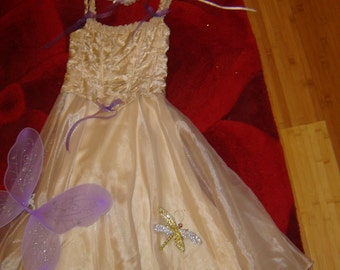 Costume angel tooth fairy tan sheer dress wings butterflies womens sz S