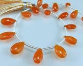 Sale -Carnelian Briolettes AAA Micro Faceted Carnelian Pear Shaped Briolette Beads