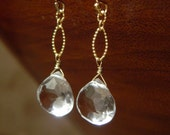 For Karin - Faceted Crystal Quartz and 14kt Gold Fill Textured Drop Earrings