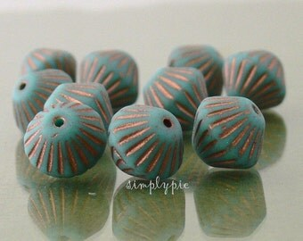 African Turquoise Copper Bicone Czech Glass Beads 11mm 10