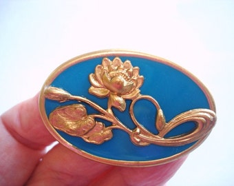 Flower Turquoise Blue Gold Tone  Brooch