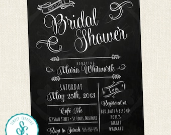 Bridal Shower Invitation - Vintage, Chalk Board Style