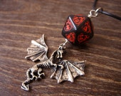 dragon necklace dungeons and dragons pendant D20 dice necklace dice jewelry D20 necklace