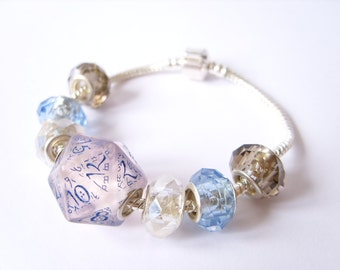wedding D20 dice bracelet blue white wedding bracelet transparent elven elvish D20 dice jewerly geek dungeons and dragons bride jewelry