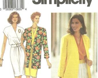simplicity 8223 dress jacket vintage 1992 sz 12-16