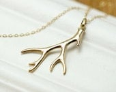 Gold Antler Necklace - Hunting Necklace - Simple Gold Antler Hunter Necklace