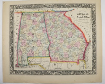 Antique Map Georgia Alabama Map 1860 Mitchell Map, Southern State Map, Unique Wedding Gift for Couple, Vintage Art Map, 1st Anniversary Gift