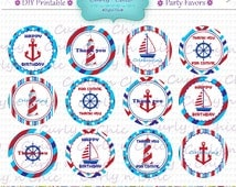 """INSTANT DOWNLOAD -2"""" Birthday Party Favor Toppers-  -Printable Party Tag, Cupcake Topper, DIY, You Print, You Cut -"""