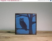 ON SALE Owl in Tree Silhouette Wood Block Wall Hanging--MatchBlox Mix and Match Art --1719