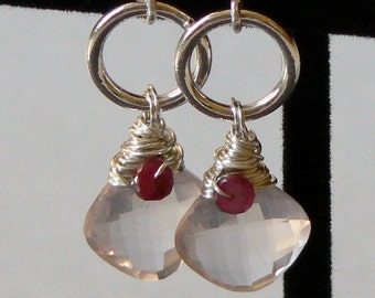 Rose Quartz, Ruby, Sterling Silver Circle Dangle earrings, Pink, Red, Wire Wrapped