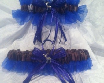 Mossy Oak camouflage royal blue wedding garter set